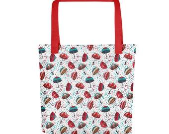 "15""x15"" Umbrella's Rain Totebag, Umbrella Art Tote Bag, Durable Large Print Bag, Cloth Bag, Polyester Illustrated Reusable Bag, Grocery Tote"