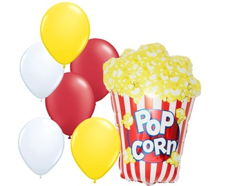 "7pc Party Pack, 38"" Inch Popcorn Mylar Latex Balloon Kit, Helium Balloon, Cinema Movie Theater Popcorn Supply Decor, Birthday Party Balloons"