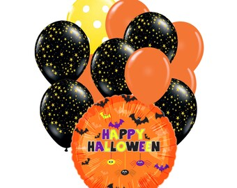 """12pc Party Pack, 18"""" Inch Happy Halloween Spiders Bats Mylar Latex Balloon Kit, Helium Balloons, Party Supply Decor, Eyeball Holiday Package"""
