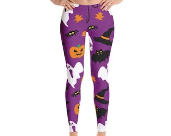 Halloween Leggings,  Halloween Print Leggings, Womens Adult Yoga Pants, Halloween Clothing, Polyester Spandex Leggings XS S M L XL Size