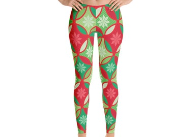 Christmas Leggings, Holiday Leggings, Womens Adult Yoga Pants, Red Green Holiday Clothing, Polyester Spandex Leggings XS S M L XL Size