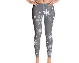 Christmas Leggings, Holiday Leggings, Womens Yoga Pants, Winter Snowflakes Holiday Clothing, Polyester Spandex Leggings XS S M L XL Size