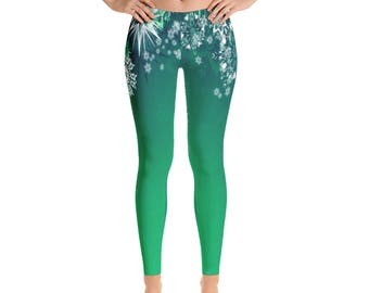 Christmas Leggings, Holiday Leggings, Womens Yoga Pants, Winter Snowflakes Holiday Clothing, Polyester Spandex Leggings XS S M L XL Size