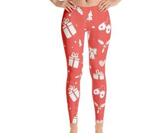Christmas Leggings, Womens Adult Yoga Pants, Winter Tree Holiday Clothing, Polyester Spandex Leggings XS S M L XL Size, Holiday Print