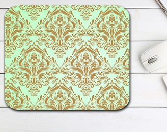 Damask Mouse Pad, Teal Damask Mouse Pad, Tech Desk Office Gift for Her, Computer Mouse Pad Office Supplies,  Neoprene Non Slip Mouse Pad
