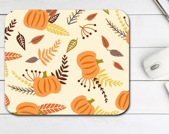 Pumpkin Autumn Mouse Pad, Fall Pumpkin Mouse Pad, Tech Desk Office Gift for Him Her, Office Supplies, Halloween Neoprene Non Slip Mouse Pad