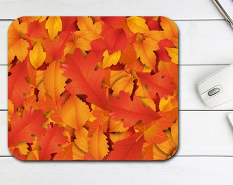 Autumn Leaves Mouse Pad Fall Tech Desk Office Gift For Him Her Supplies Halloween Neoprene Non Slip