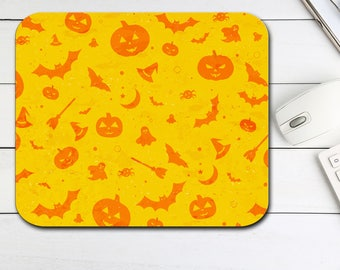 Halloween Mouse Pad, Bats Witches Hats Pumpkins Mouse Pad, Tech Desk Office Computer Mouse Pad Office Supplies,  Neoprene Non Slip Mouse Pad