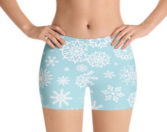 All Over Print Yoga Shorts, Christmas Snowflakes Print Bedtime Shorts, Gym Workout Summer Shorts, Polyester Spandex Stretch Fit XS-3XL Size