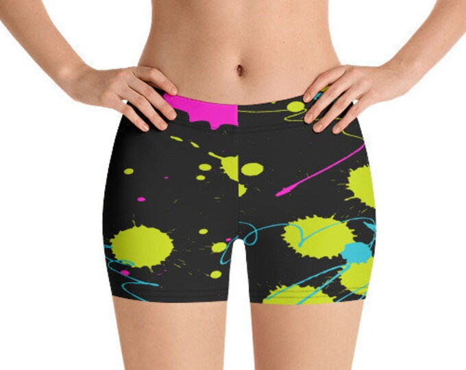 All Over Print Yoga Shorts, 90's 80's Neon Retro Abstract Bedtime Shorts, Gym Workout Summer Shorts, Polyester Spandex Stretch Fit XS-3XL