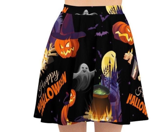 Women's Skater Skirt, Circle Skirt, Halloween Holiday Skirt, Custom Pumpkins Cats Ghosts Skirt, XS-3XL Size, Custom All Over Print Skirt