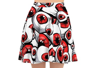 Women's Skater Skirt, Circle Skirt, Halloween Holiday Skirt, Custom Scary Funny Eyeballs Skirt, XS-3XL Size, Custom All Over Print Skirt