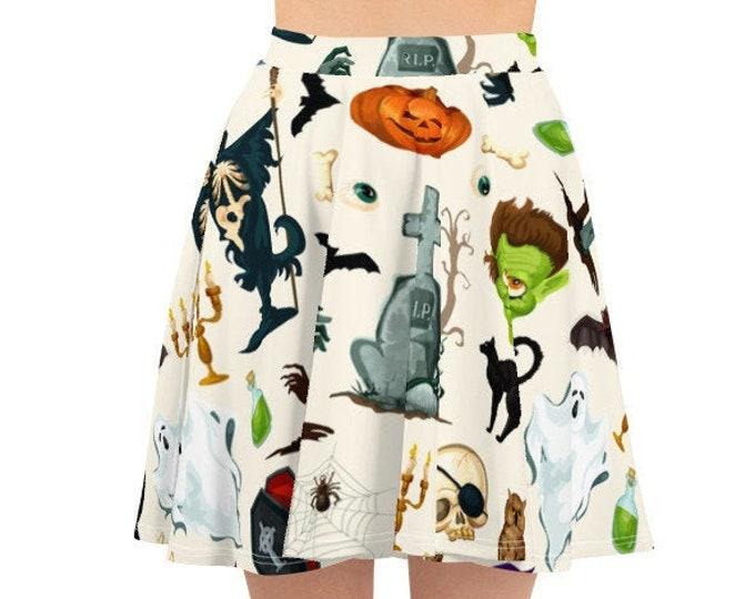 Women's Skater Skirt, Circle Skirt, Halloween Holiday Skirt, Custom Pumpkins Witches Ghosts Spiders Skirt, XS-3XL Size, All Over Print Skirt
