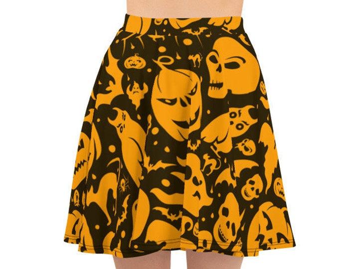 Women's Skater Skirt, Circle Skirt, Halloween Holiday Skirt, Custom Pumpkins Bats Skulls Skirt, XS-3XL Size, Custom All Over Print Skirt