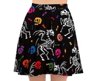 Women's Skater Skirt, Circle Skirt, Halloween Holiday Skirt, Custom Skeleton Unicorn Skulls Skirt, XS-3XL Size, Custom All Over Print Skirt