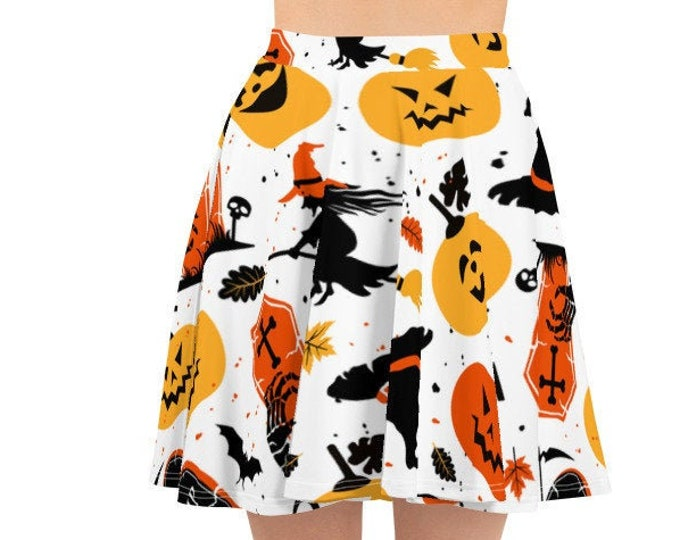 Women's Skater Skirt, Circle Skirt, Halloween Holiday Skirt, Custom Pumpkins Witches Spiders Skirt, XS-3XL Size, All Over Print Skirt