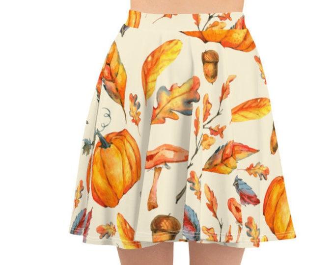 Women's Skater Skirt, Circle Skirt, Halloween Holiday Skirt, Custom Pumpkins Jack O Lantern Skirt, XS-3XL Size, Custom All Over Print Skirt