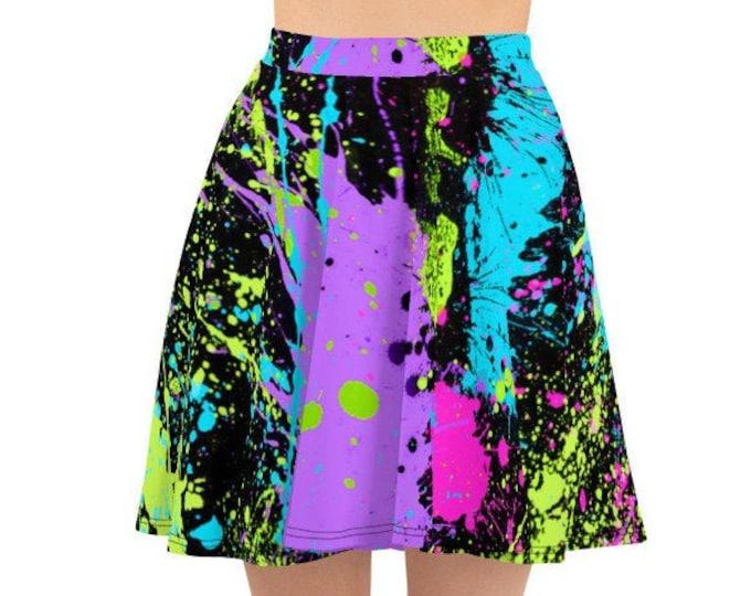 Womens Skater Skirt, Circle Skirt, Neon Retro Paint Splatter Skirt, Custom 80's 90's Neon Skirt, XS-3XL Size, Custom All Over Print Skirt