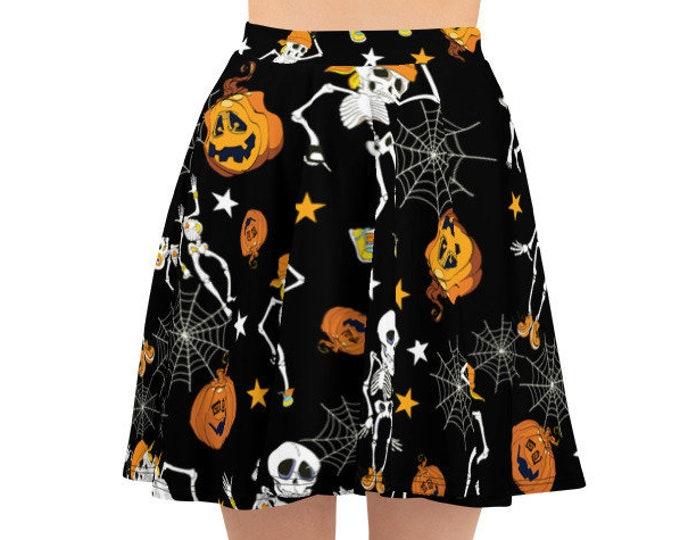 Women's Skater Skirt, Circle Skirt, Halloween Holiday Skirt, Custom Pumpkins Skeletons Spiders Skirt, XS-3XL Size, All Over Print Skirt