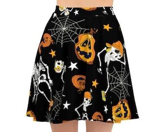 Women's Skater Skirt, Circle Skirt, Halloween Holiday Skirt, Custom Pumpkins Spiders Skulls Skirt, XS-3XL Size, Custom All Over Print Skirt