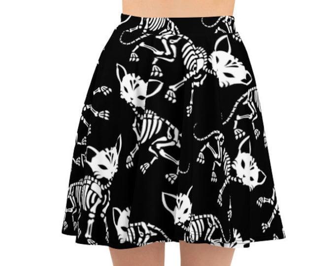 Women's Skater Skirt, Circle Skirt, Halloween Holiday Skirt, Custom Cat Skeletons Skulls Skirt, XS-3XL Size, Custom All Over Print Skirt