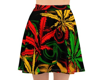 Womens Skater Skirt, Circle Skirt, Marijuana Hemp Leaf Skirt, Custom Rasta Cannabis Pot Leaf Skirt, XS-3XL Size, Custom All Over Print Skirt