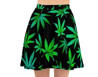 Womens Skater Skirt, Circle Skirt, Marijuana Hemp Leaf Skirt, Custom Cannabis Pot Leaf Skirt, XS-3XL Size, Custom All Over Print Skirt