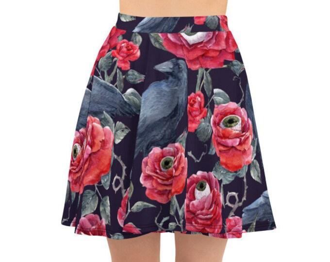 Women's Skater Skirt, Circle Skirt, Halloween Holiday Skirt, Custom Floral Roses Eyeballs Skirt, XS-3XL Size, Custom All Over Print Skirt