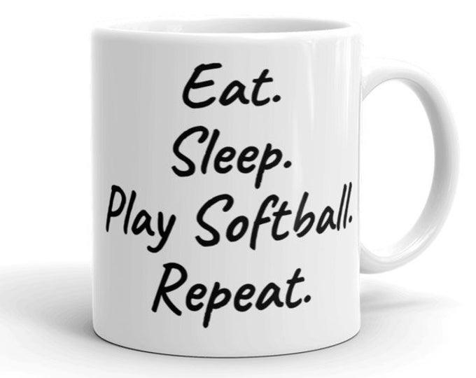 451b88dae7a 11oz Ceramic Mug, Sports Novelty Mug, Novelty Drink Mug, Eat Sleep Play  Softball