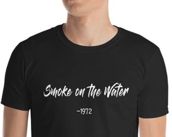 Unisex Mens T Shirt,  Smoke on the Water Tee, 70's Novelty Tee, S-3XL Sizes, Heavy Cotton Soft DTG Print Tee, Deep Purple Song Title Shirt