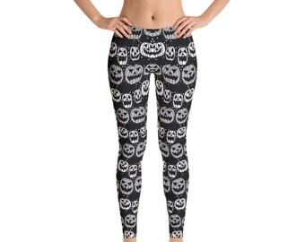 Halloween Leggings, Pumpkins Print Leggings, Womens Adult Yoga Pants, Halloween Holiday Pants, Polyester Spandex Leggings XS S M L XL Size