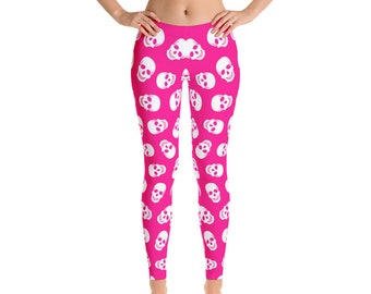 Halloween Leggings, Gothic Skulls Leggings, Womens Adult Yoga Pants, Halloween Holiday Pants, Polyester Spandex Leggings XS S M L XL Size