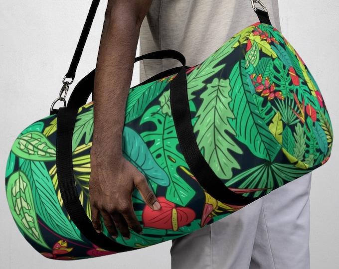 Tropical Floral Hawaiian Duffel Bag, All Over Print Oxford Canvas Duffel Bag, Adjustable Yoga Gym Carry On Luggage, Travel Weekender Bag