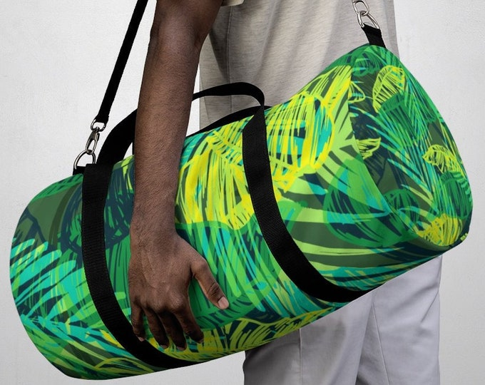 Tropical Jungle Duffel Bag, All Over Print Oxford Canvas Duffel Bag, Adjustable Straps, Yoga Gym Carry On Luggage, Travel Weekender Bag