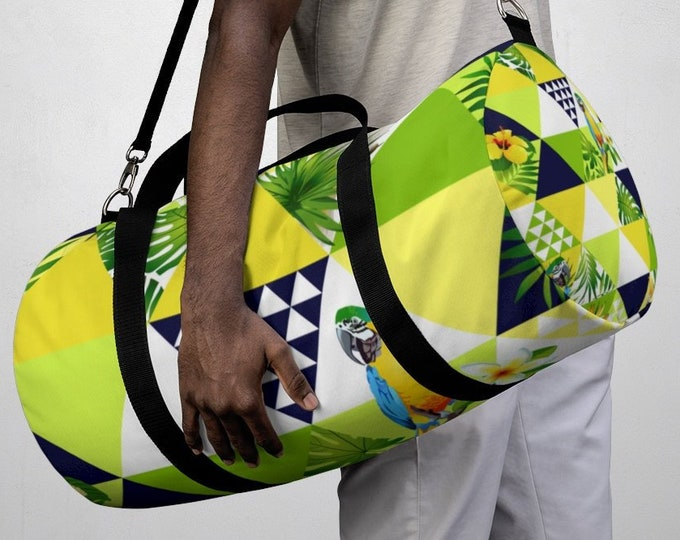 Tropical Parrot Bird Duffel Bag, All Over Print Oxford Canvas Duffel Bag, Adjustable Straps, Yoga Gym Carry On Luggage, Travel Weekender Bag