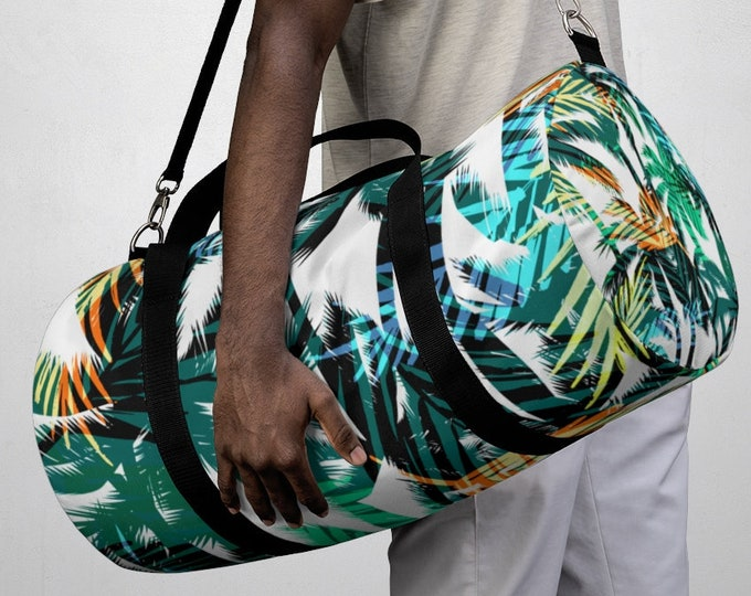 Tropical Palm Tree Duffel Bag, All Over Print Oxford Canvas Duffel Bag, Adjustable Straps, Yoga Gym Carry On Luggage, Travel Weekender Ba