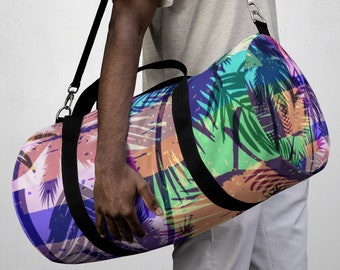 Tropical Palm Tree Duffel Bag, All Over Print Oxford Canvas Duffel Bag, Adjustable Straps, Yoga Gym Carry On Luggage, Travel Weekender Bag