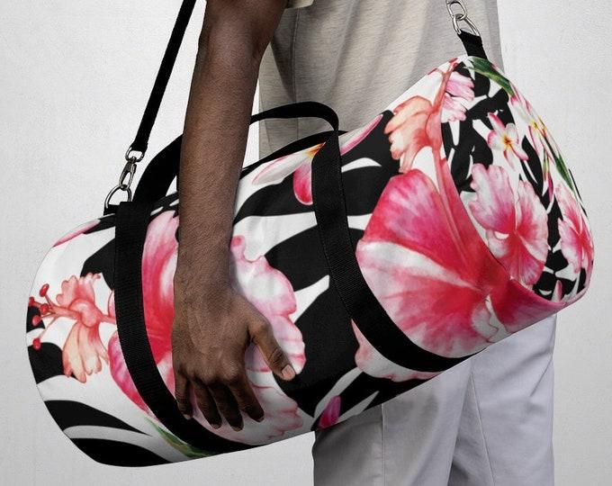 Tropical Hawaiian Floral Duffel Bag, All Over Print Oxford Canvas Duffel Bag, Adjustable Yoga Gym Carry On Luggage, Travel Weekender Bag