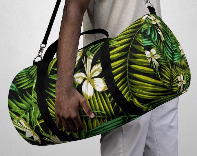 Tropical Floral Fern Duffel Bag, All Over Print Oxford Canvas Duffel Bag, Adjustable Straps, Yoga Gym Carry On Luggage, Travel Weekender Bag
