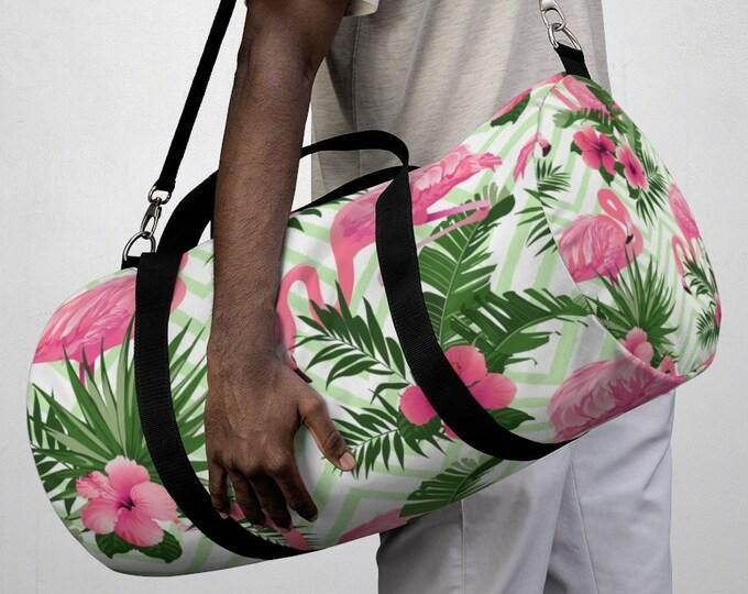 Tropical Flamingo Floral Flamingo Duffel Bag, All Over Print Oxford Canvas Duffel Bag, Yoga Gym Bag, Carry On Luggage, Travel Weekender Bag