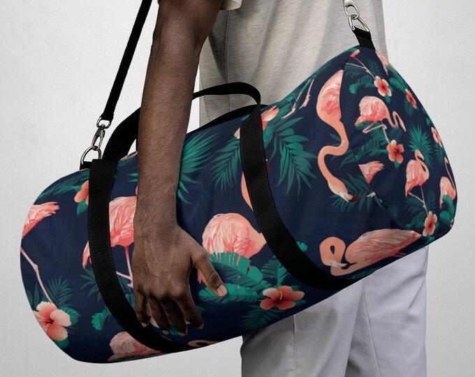 Tropical Hawaiian Floral Flamingo Duffel Bag, All Over Print Oxford Canvas Duffel Bag, Yoga Gym Bag, Carry On Luggage, Travel Weekender Bag