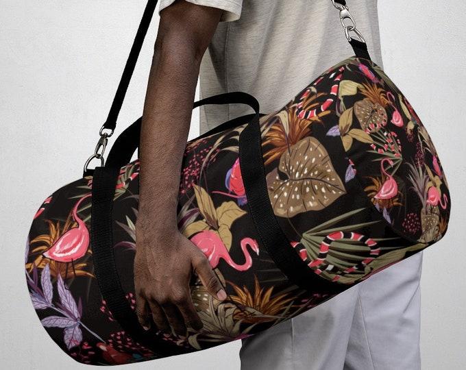 Tropical Flamingo Floral Duffel Bag, All Over Print Oxford Canvas Duffel Bag, Adjustable Yoga Gym Carry On Luggage, Travel Weekender Bag
