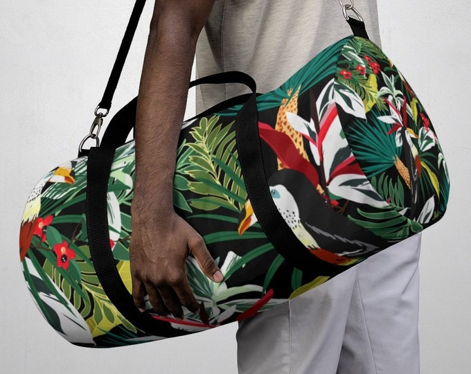 Tropical Parrots Duffel Bag, All Over Print Oxford Canvas Duffel Bag, Adjustable Straps, Yoga Gym Carry On Luggage, Travel Weekender Bag