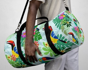 Tropical Hawaiian Parrot Duffel Bag, All Over Print Oxford Canvas Duffel Bag, Adjustable Yoga Gym Carry On Luggage, Travel Weekender Bag