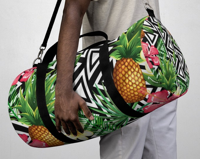 Tropical Pineapple Floral Duffel Bag, All Over Print Oxford Canvas Duffel Bag, Yoga Gym Bag, Carry On Luggage, Summer Travel Weekender Bag