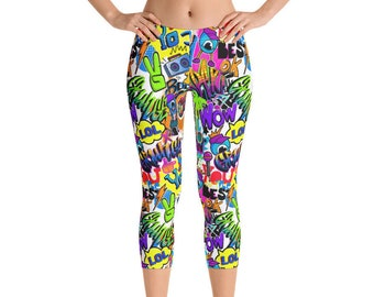 b6a99f45cf057 Womens Capri Leggings, Retro 80's 90's Neon Leggings, Paint Stretch  Capri's, Womens Yoga Pants, Polyester Spandex Capri XS S M L XL Size,