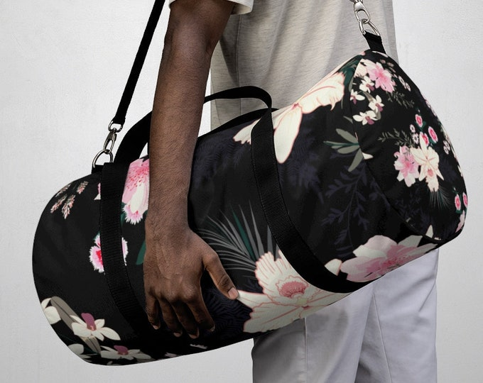 Tropical Flowers Duffel Bag, All Over Print Oxford Canvas Duffel Bag, Adjustable Straps, Yoga Gym Carry On Luggage, Travel Weekender Bag