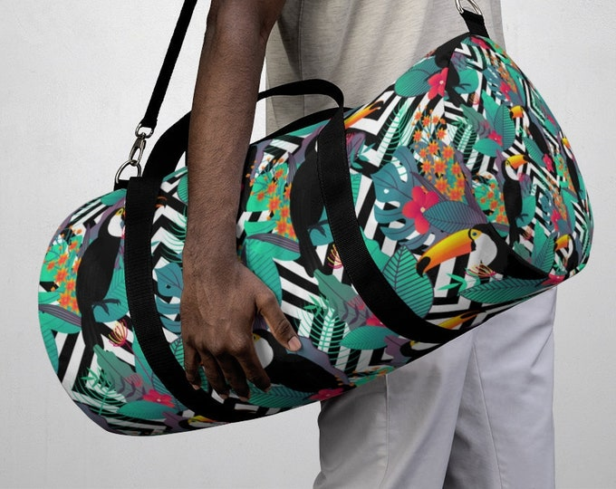 Tropical Floral Parrot Duffel Bag, All Over Print Oxford Canvas Duffel Bag, Adjustable Yoga Gym Carry On Luggage, Travel Weekender Bag