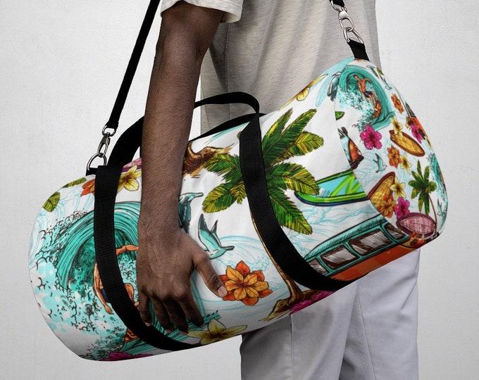 Tropical Surf Duffel Bag, All Over Print Oxford Canvas Duffel Bag, Adjustable Straps, Yoga Gym Carry On Luggage, Travel Weekender Bag