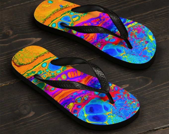 Unisex Flip-Flops, Soft Durable Printed Flip Flops, Summer Beach Shoes , Polyester Rubber Flip Flops, Retro 80'S Paint Print Beach Sandals